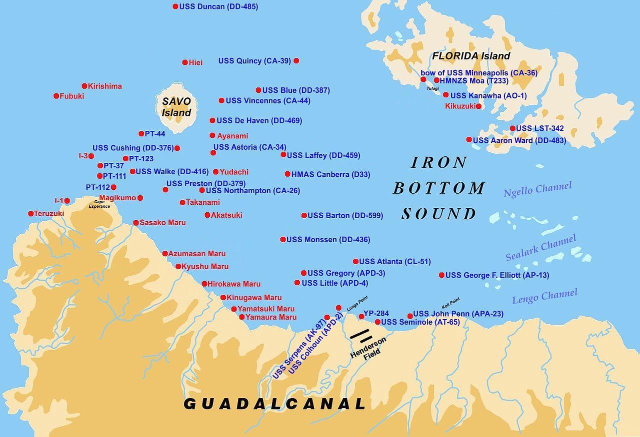 A Vasfenekű Szoros térképe, az elsüllyedt amerikai és japán hajókkal.