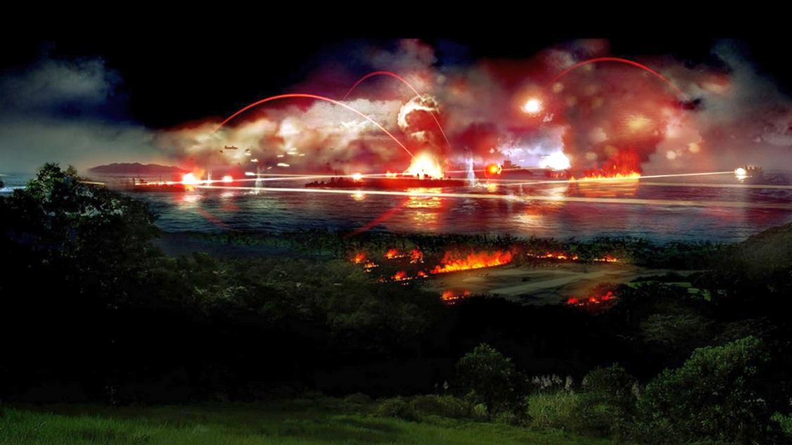 Az ütközet egy festményen, ahogy a tengerészgyalogosok Guadalcanalról láthatták.