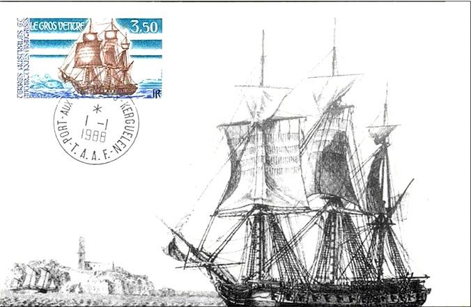 A Gros Ventre, képeslapon, és bélyegen.