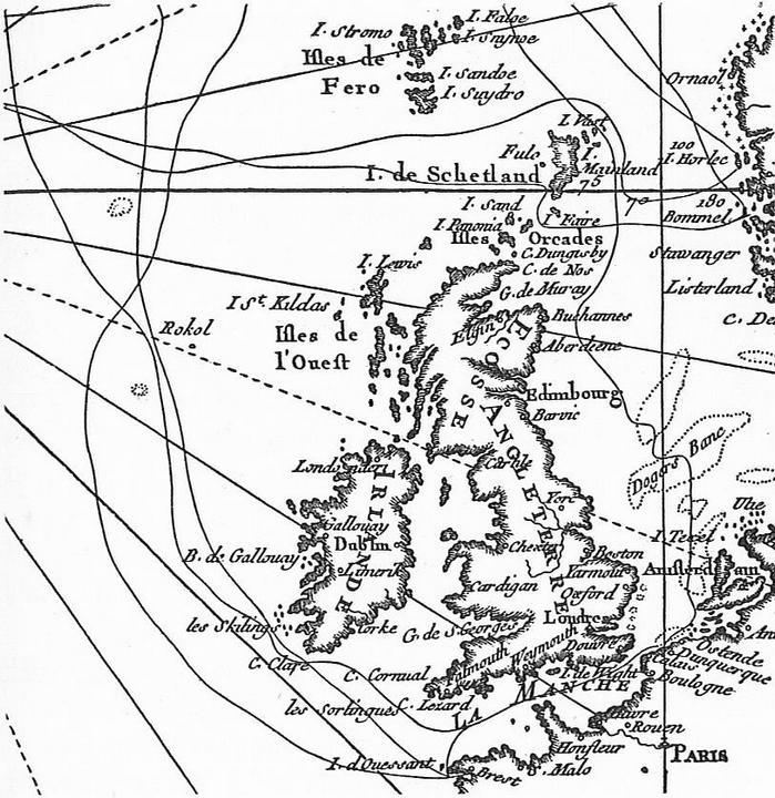 Kerguelen egyik térképe, a brit szigetek körüli vizekről.