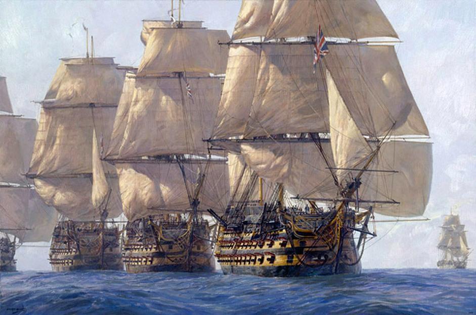 A csatasor. A Victory, a Témeraire, és a Neptune, Geoff Hunt festményén.