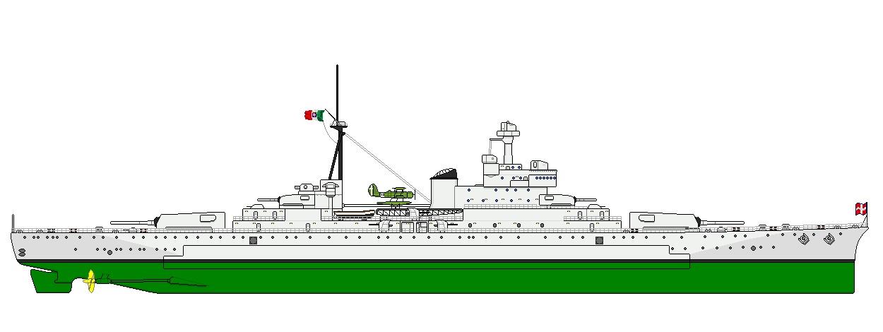 Az olasz zsebcsatahajó oldalnézeti rajza.