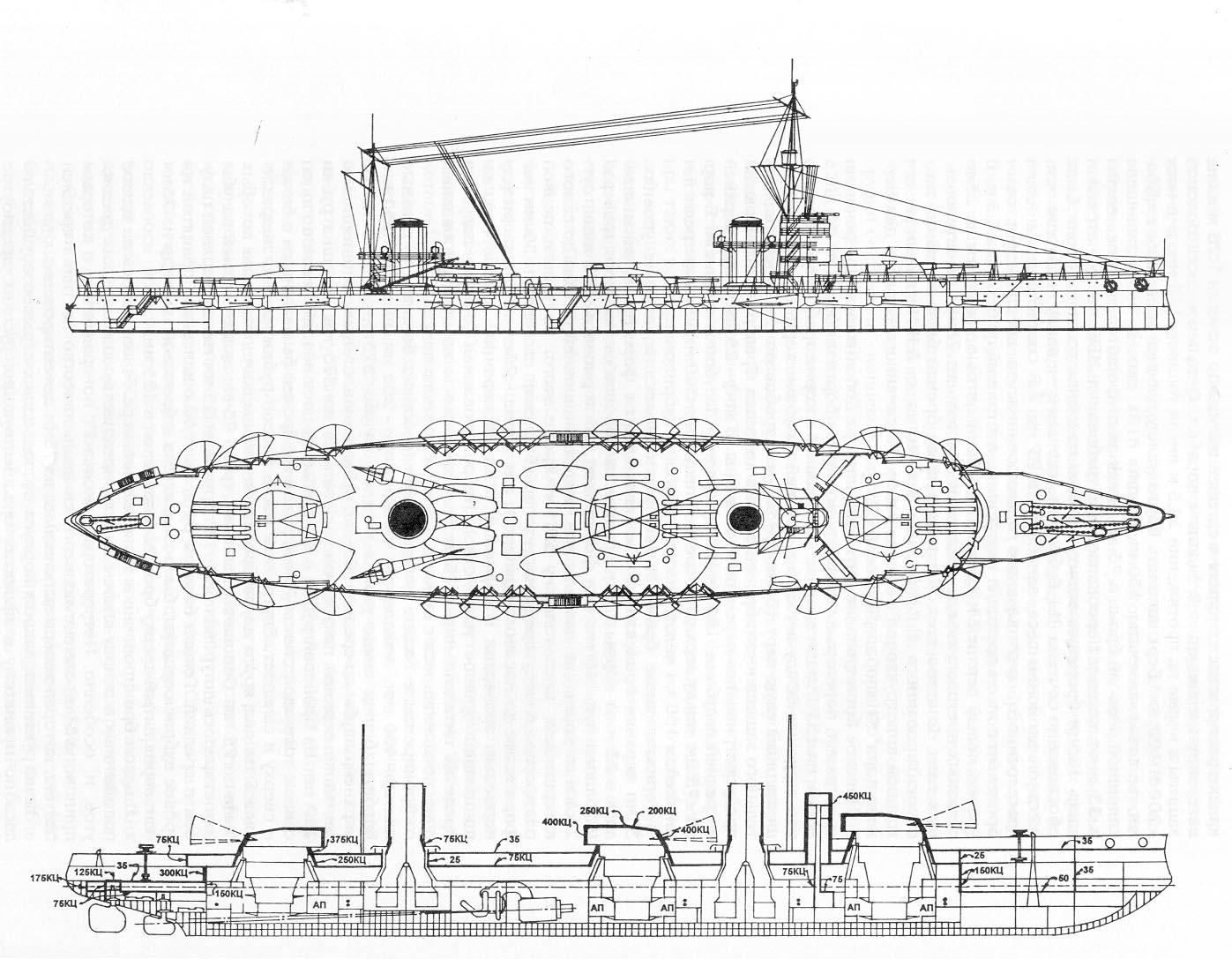 Bubnov csatahajójának tervei.