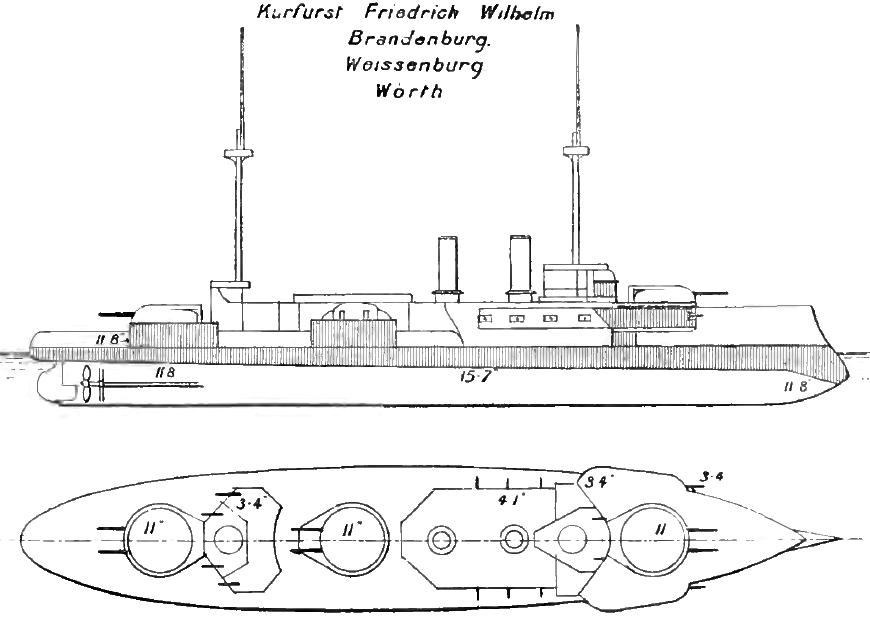 Brandenburg osztályú csatahajó jellegrajza.