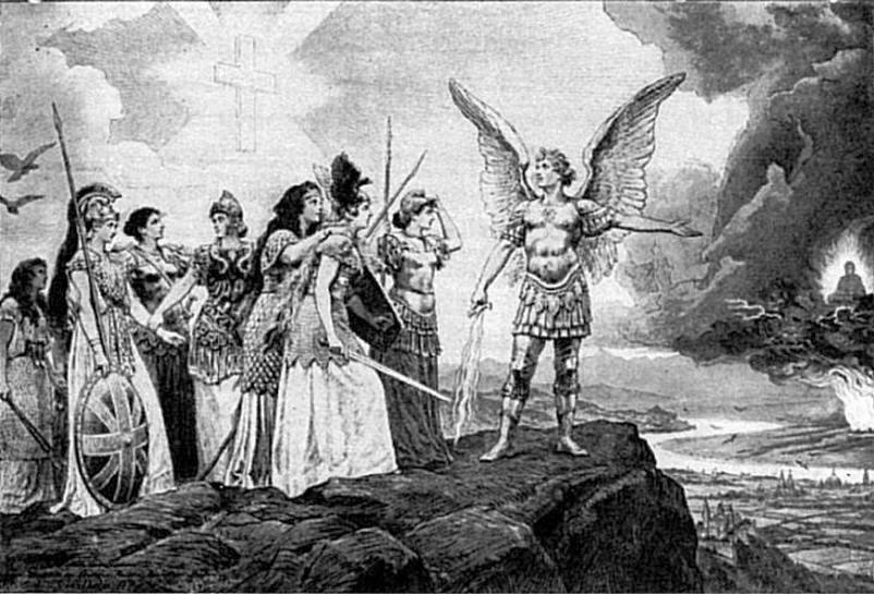 Európa népei, védjétek meg legszentebb tulajdonotokat!  A II. Vilmos által megrendelt, és nagy példányszámban terjesztett kép a sárga veszedelem elleni harcra lett volna hivatott mozgósítani Európa népeit.