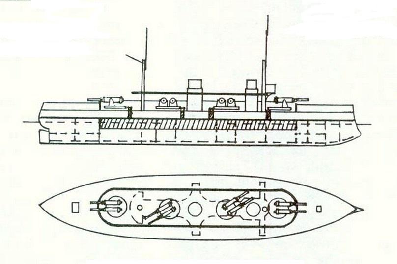 Nyolc 305 mm-es ágyúval felszerelt orosz csatahajó terve az 1880-as évekből.