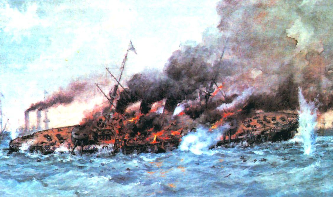 A süllyedő Oszljabja egy festményen.
