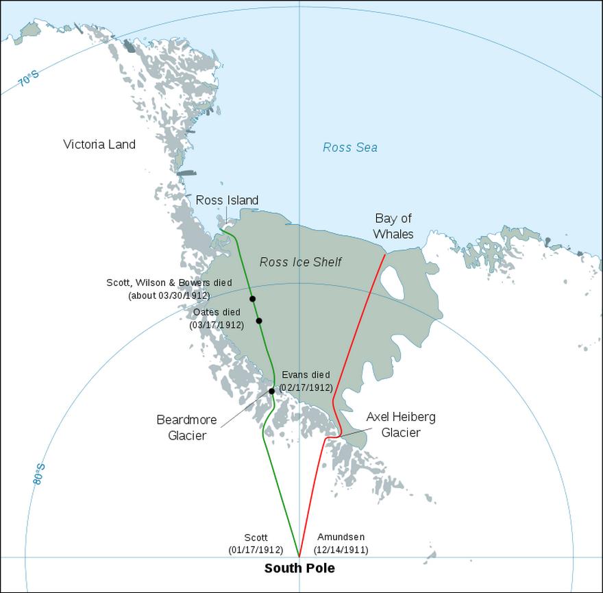 Az angol és a norvég expedíció útvonala.