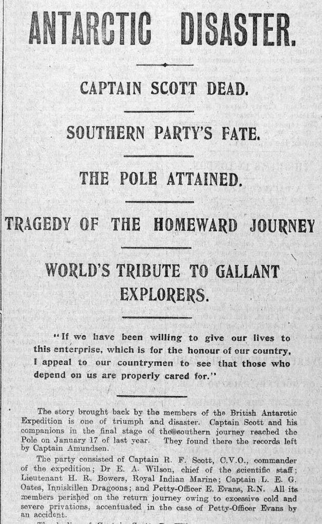 Az expedícióról beérkező hírek egy angol újság címlapján.