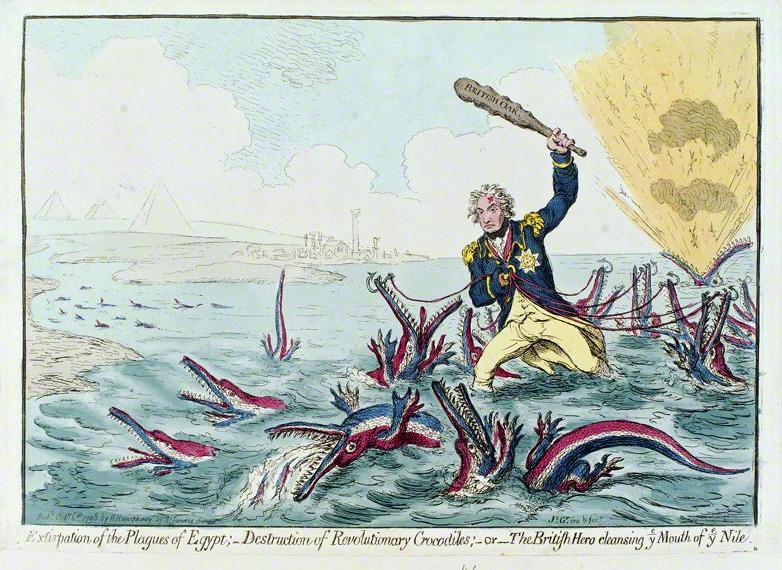 Nelson agyonüti a nílusi krokodilokat. Az aboukiri csata után készült karikatúra.