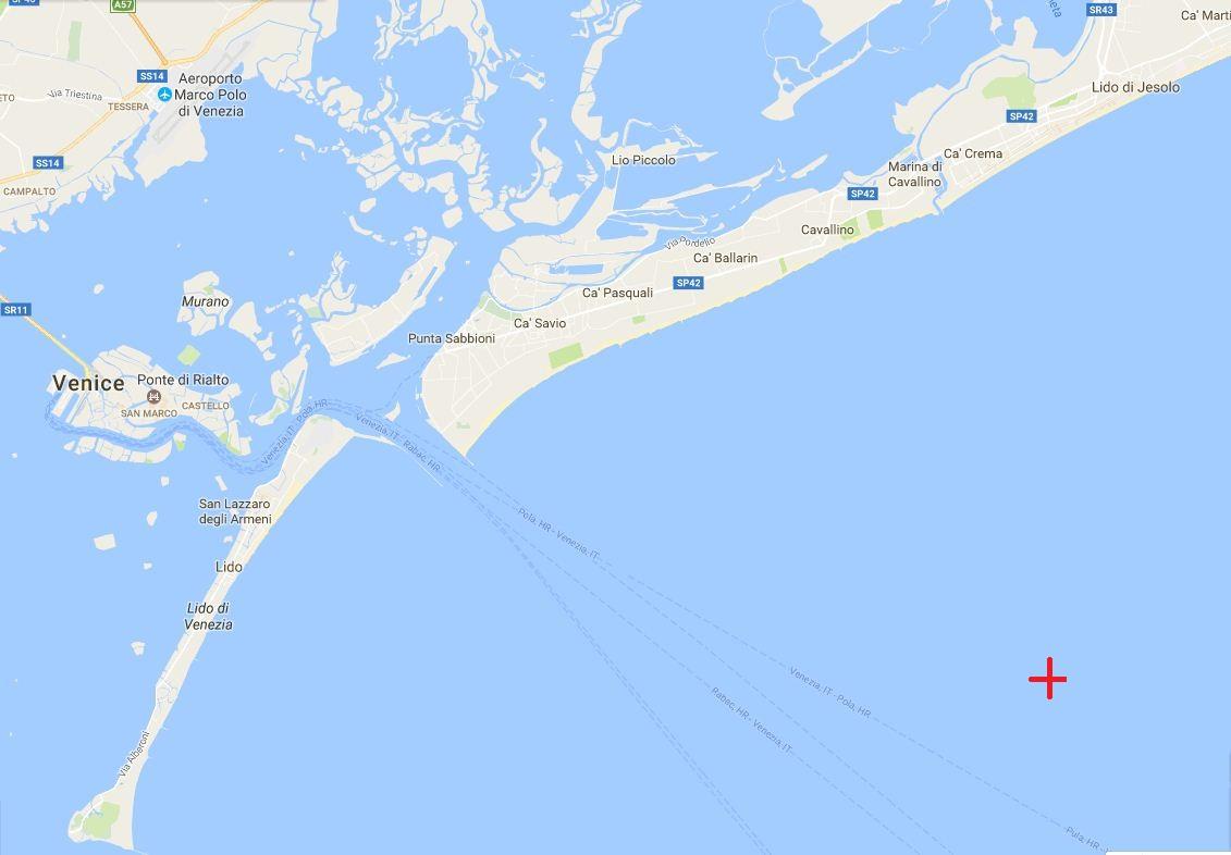 Az U-12 elsüllyedésének helye Velence térképén.