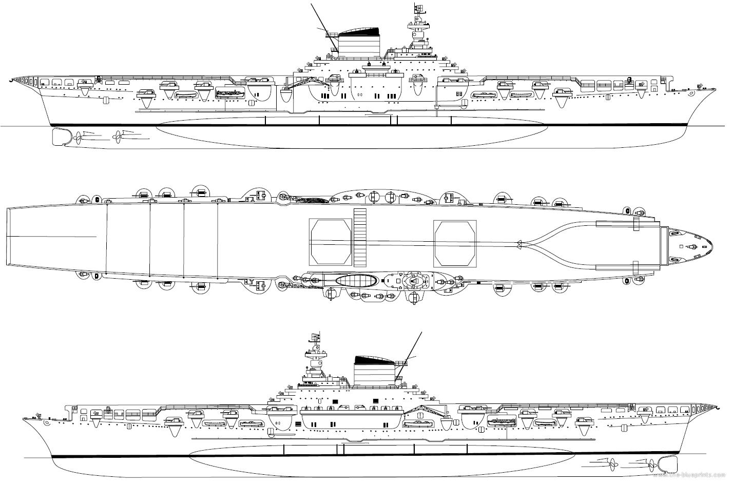 Az Aquila háromnézeti rajza.