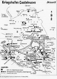 Cattaro erődjei térkép