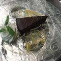 Csokoládés naspolya torta, narancs mártással