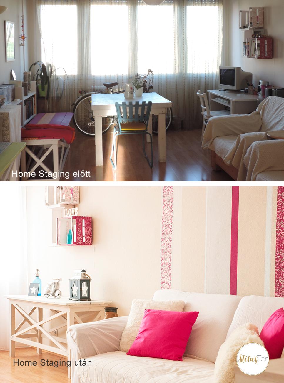 Nappali - Home Staging előtt és után