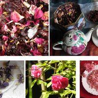 Rózsás teánk mályva hibiszkusz és rózsaszirmok valamint piros bogyósok gyönyörűsége