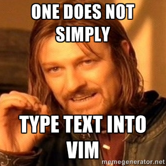 Eddard Startk Vim mém: One does not simply type text into Vim
