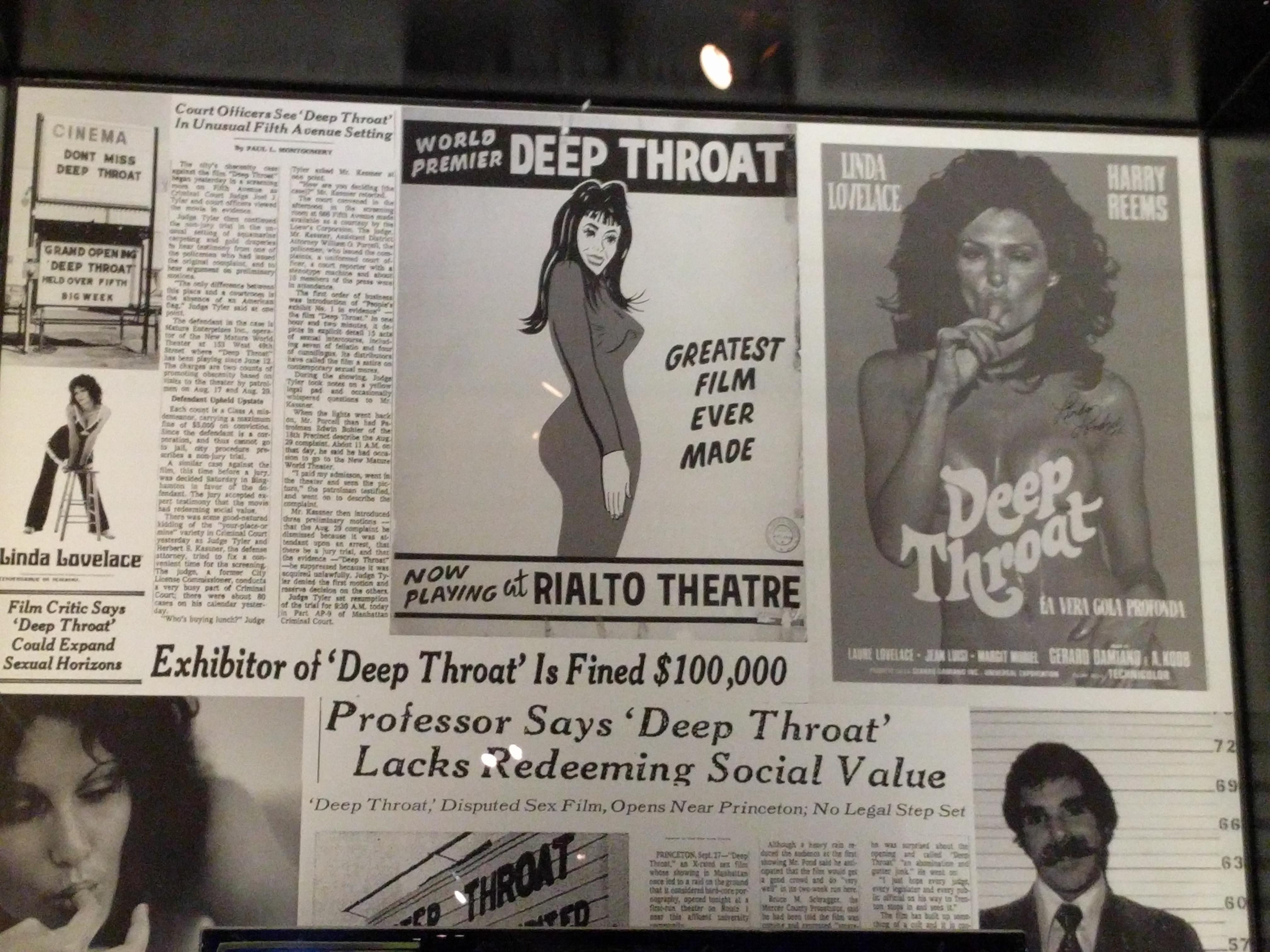 Korabeli újságcikkek az első pornófilmről, a Deep Throat-ról (Mély Torok).