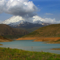 Mt. Damavand behind Lar lake about 90 km from Tehran
