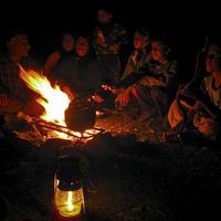 Campfire with bakhtiari nomad family/Zagros mountain, Chahar Mahal province, Iran