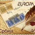 Cirill betűs levél-részlet szerb bélyegen