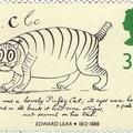 Sajátkezű macskarajz és vers Edward Lear emlékbélyegén