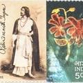 Tagore aláírása indiai emlékbélyegén