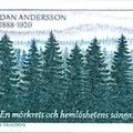 Kézírás Dan Andersson, svéd költő emlékbélyegén