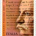 Giovanni Pascoli kéziratos verse olasz emlékbélyegén
