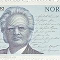A norvég himnusz kéziratának sorai a Björnson-bélyegen