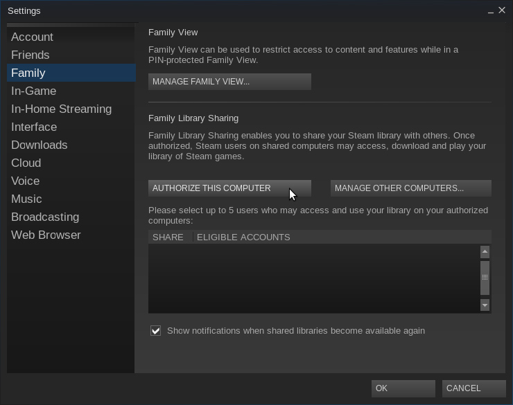 family sharing steam how to turn on