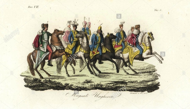 hungarian-lords-in-hussar-uniforms-furs-