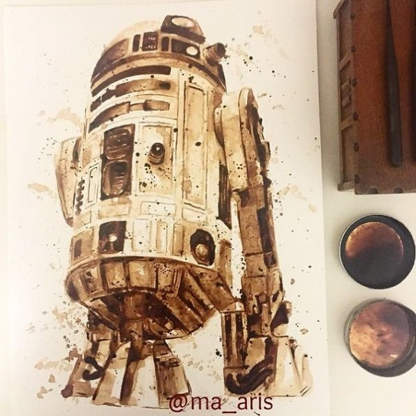 R2-D2 kávé portré Star Wars