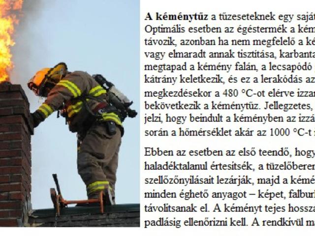 A fűtési időszakkal kapcsolatos tüzek megelőzése