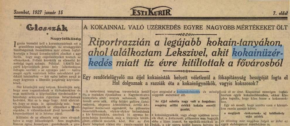 Esti Kurír 1927. január 15.
