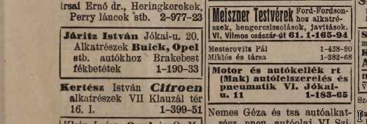 Járitz István autó alkatrész kereskedésének hirdetése az 1936-os telefonkönyvben.