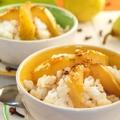 Tejberizs illatos karamellben párolt körtével