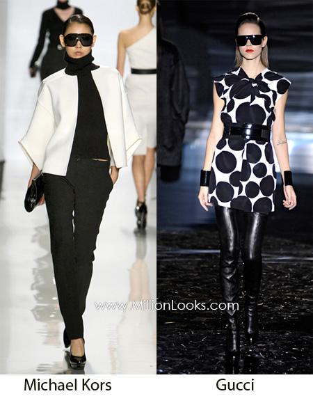 Интересно выглядит сочетание белого и черного цветов в одном наряде.