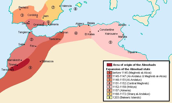 Almohád dinasztia területének növekedése történelmi évszámokkal