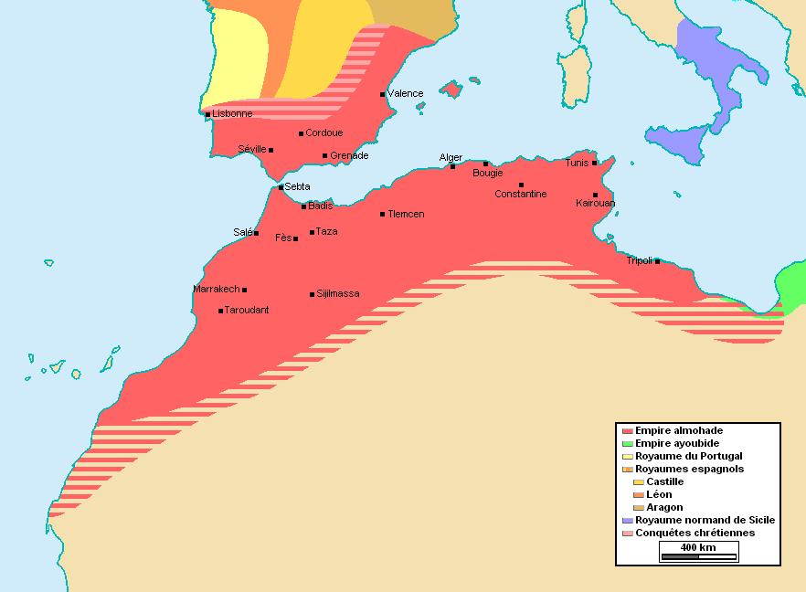 Az Almohád dinasztia területe