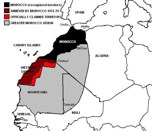 Nagy-Marokkó területe, ami nekik olyan, mint nekünk a Trianon előtti Nagy-Magyarország - egy politikai vágyálom