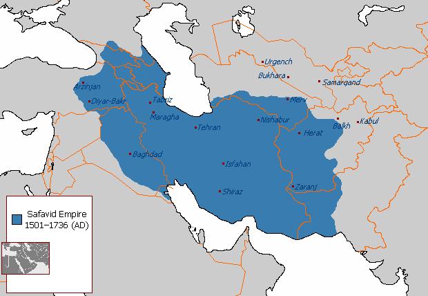 Szafavida Birodalom a legnagyobb kiterjedése idején