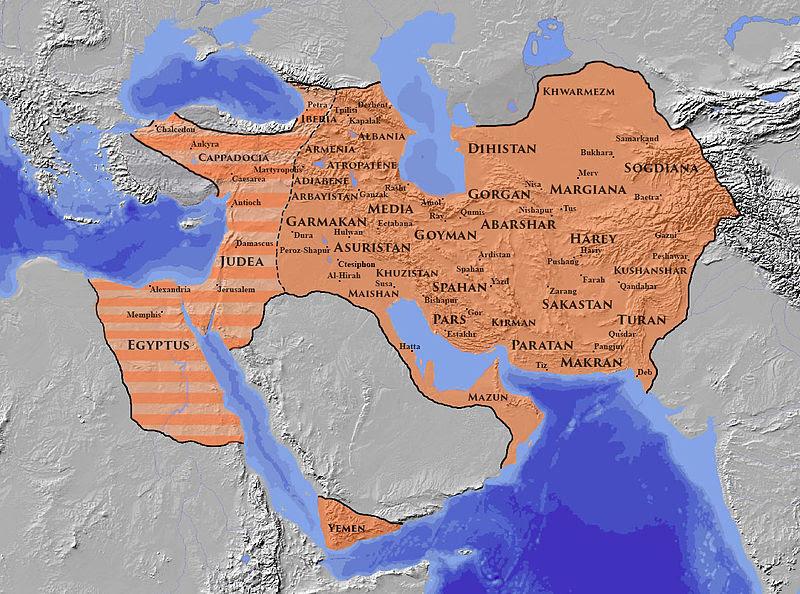 A Szászánida Birodalom legnagyobb kiterjedése nem sokkal a bukása előtt 620 körül