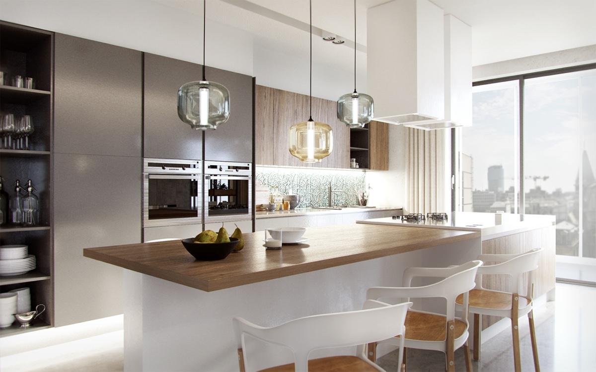 Áttetsző, divatos üveglámpák a konyhában