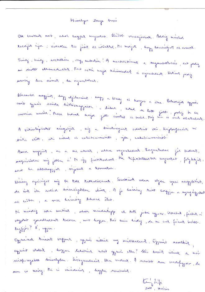 Kemény Zsófi Hüvelyes zsenge borsó című versének kézirata