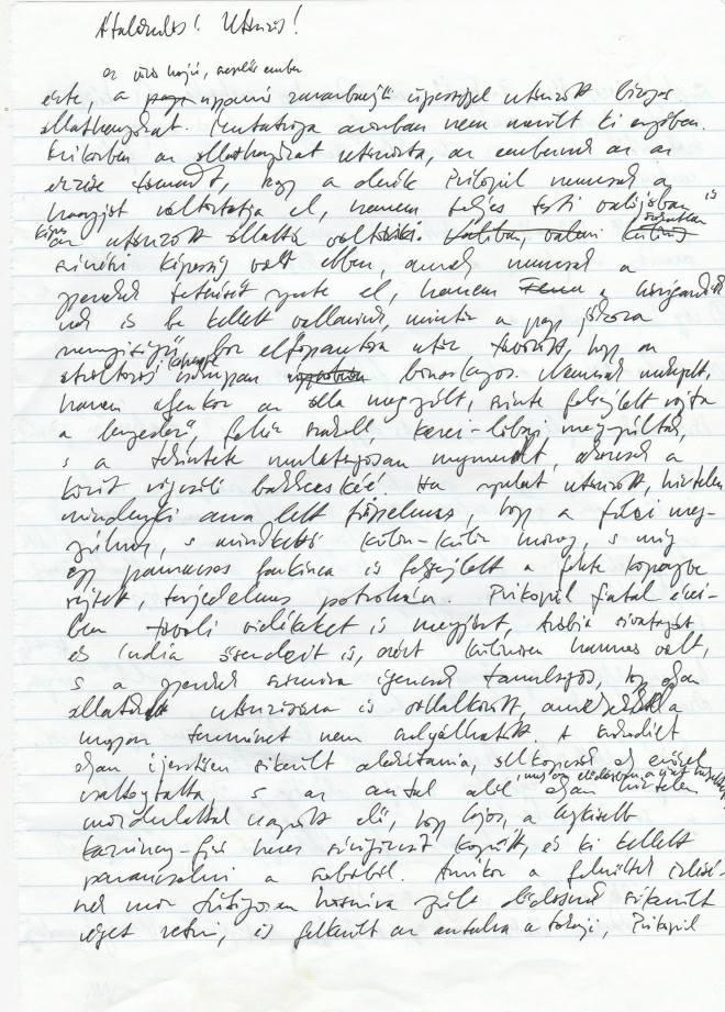 Vázlatlap kézírással a Kitömött barbár című regényhez - Péterfy Gergely felajánlása