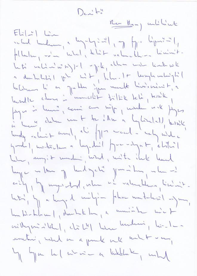 Simon Márton Derítő című versének kézírásos másolata