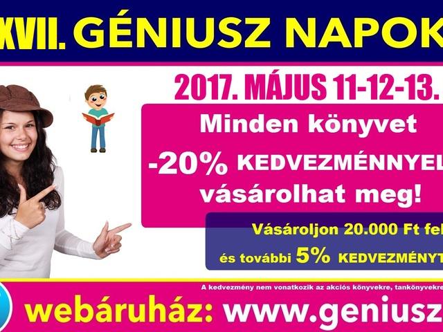Holnap startol a XVII. Géniusz Napok! -20% KEDVEZMÉNY 3 NAPON ÁT!