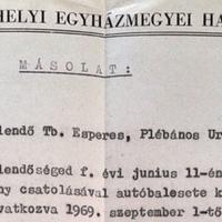 678. Horváth István plébános nyugdíjazása (1969.)