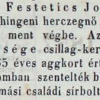 838. Gróf Festetics Lászlóné temetése